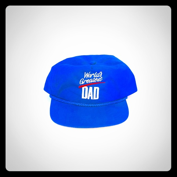 879f50545 Worlds Greatest Dad Blue SnapBack Vintage Hat..